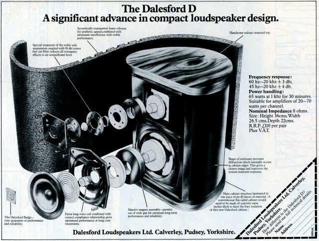 DalesFord D speaker HiFi News advert Nov 1978